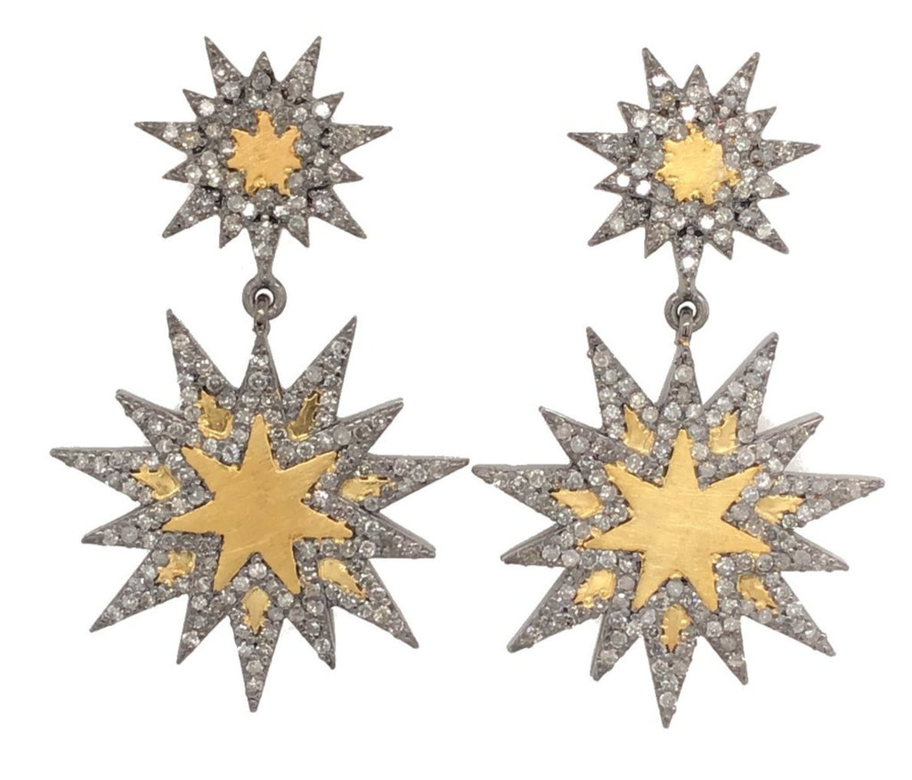 Black Rhodium and Yellow Gold Two Tone Diamond Sunburst Drop Earring