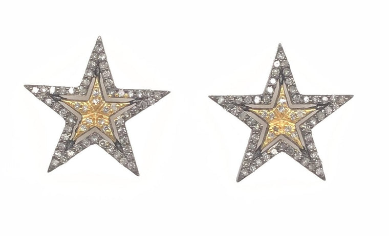 Black Rhodium and Yellow Gold Two Tone Diamond Star Stud Earrings