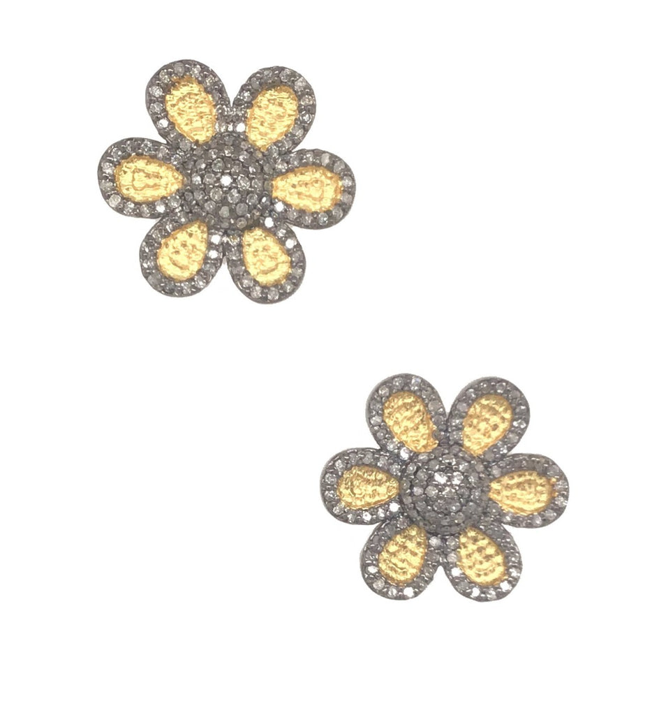Black Rhodium and Yellow Gold Two Tone Diamond Daisy Stud Earrings