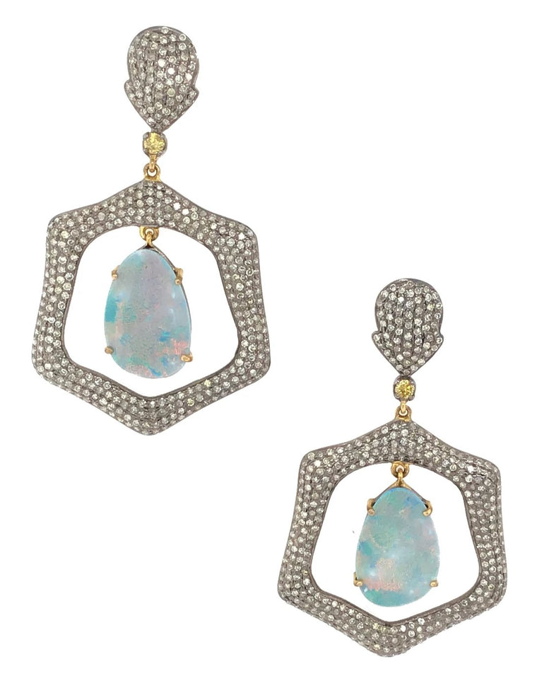 BLACK RHODIUM & DIAMOND OPAL DROP EARRINGS