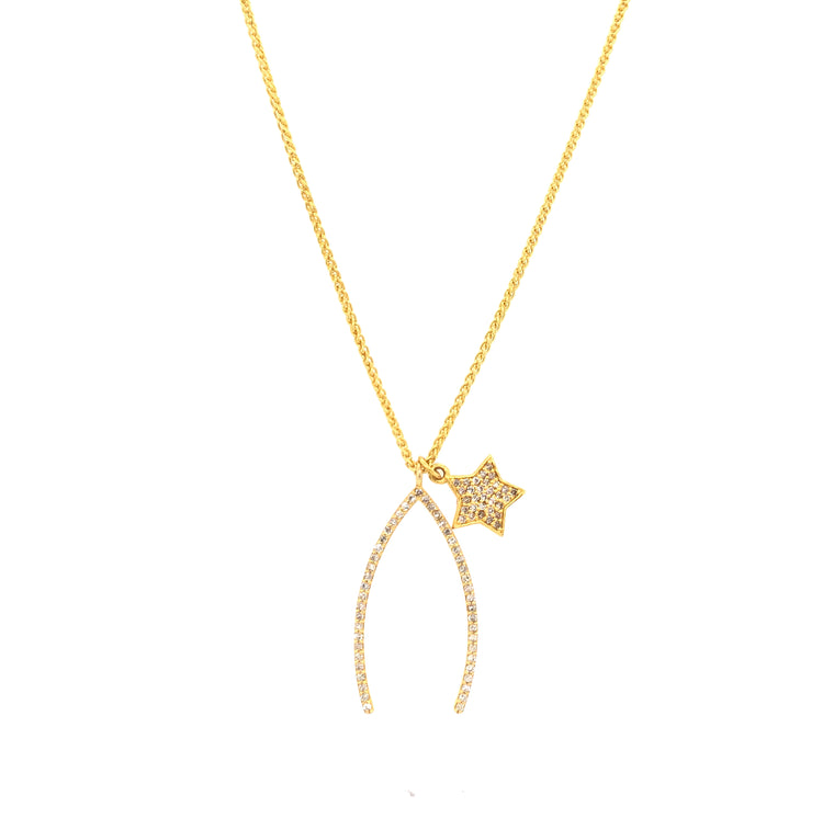 Wishbone and Diamond Star Necklace with Pull Chain