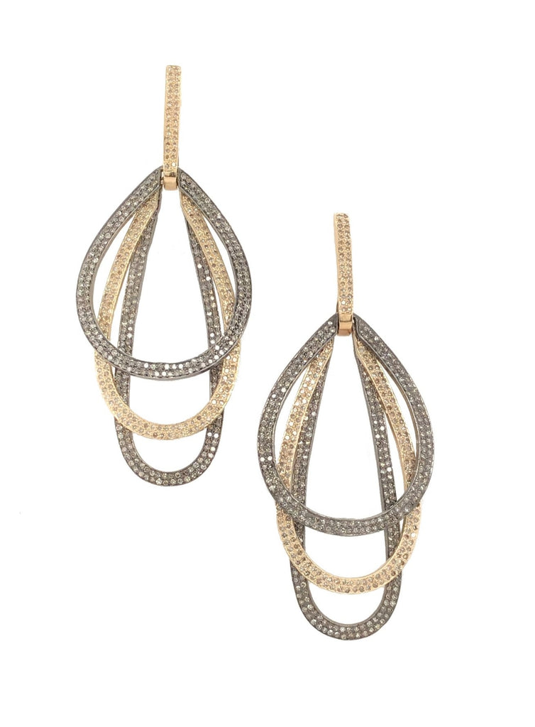 Yellow Gold and Black Rhodium Diamond Triple Drop Chandelier Earrings