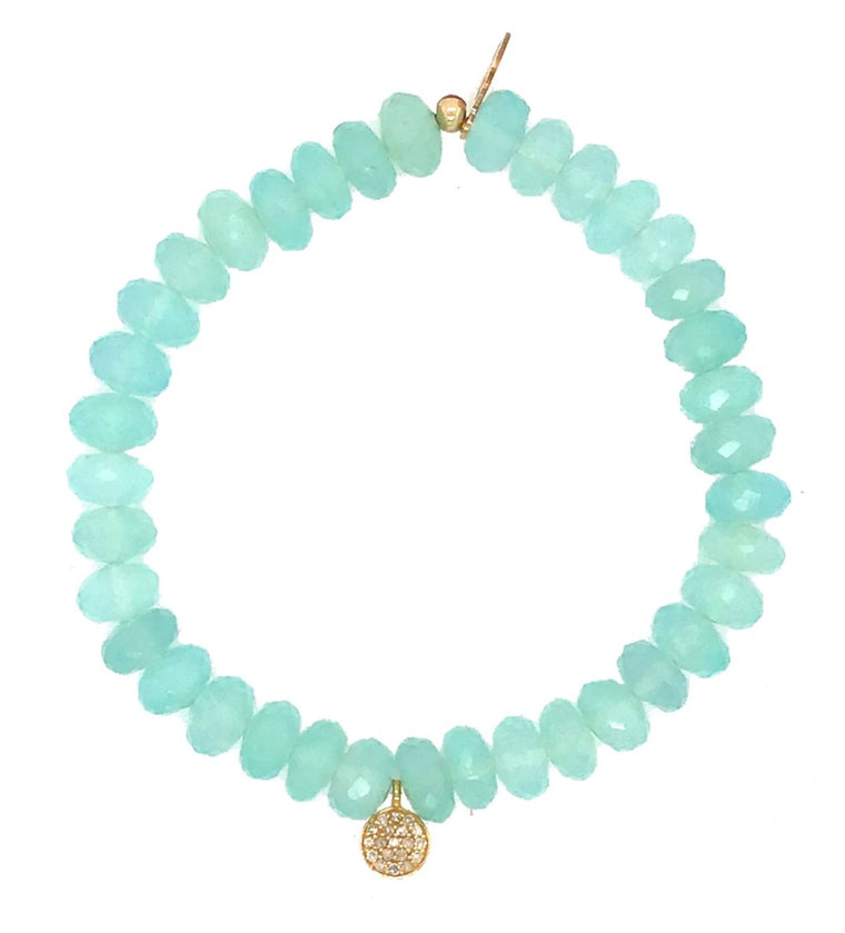 CHALCEDONY & YELLOW GOLD DIAMOND DROP BEADED BRACELET