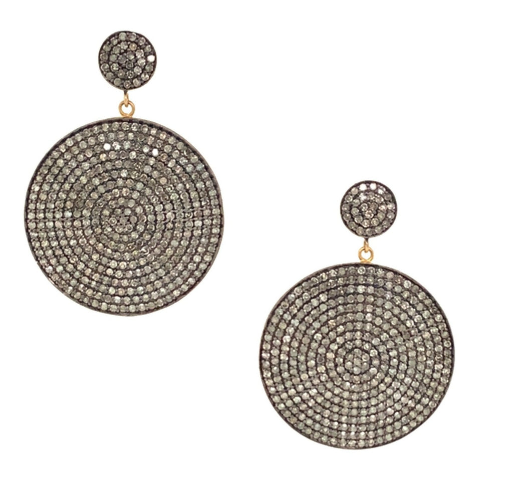 Black Rhodium and Diamond Retro Disk Earrings