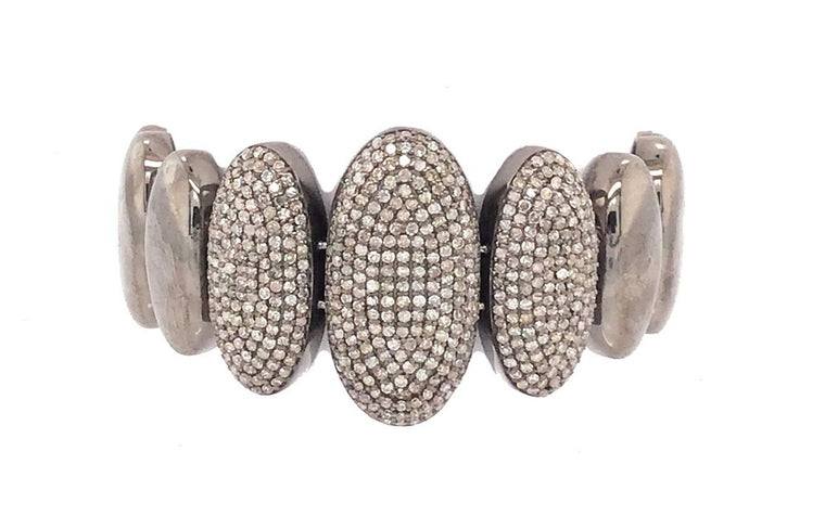 Black Rhodium and Diamond Pebble Bracelet