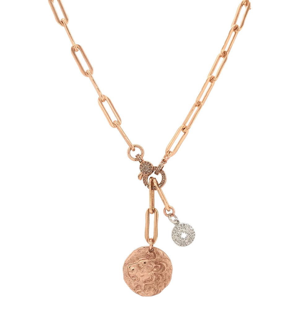 Rose Gold Filled Diamond Sunburst and Lion Coin Chain Pendant Necklace