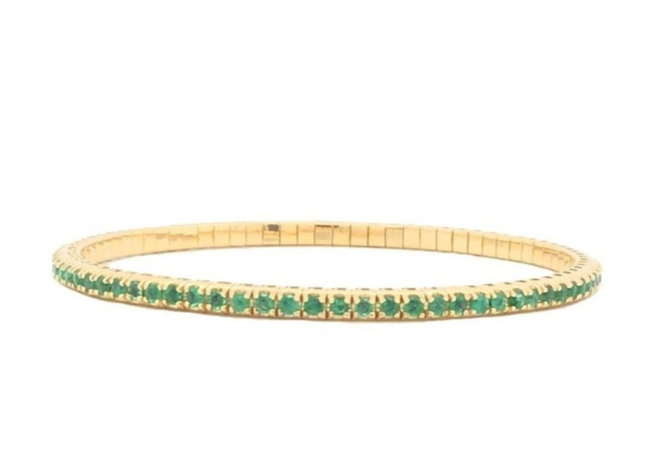 Yellow Gold and Emerald Stretch Bracelet