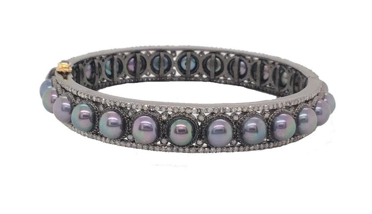 Black Rhodium Diamond and Black Pearl Cuff Bracelet