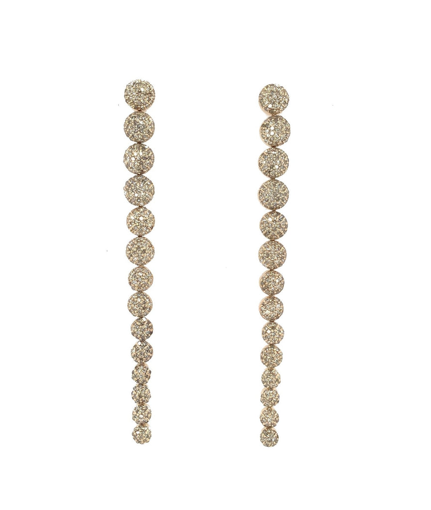 Yellow Gold Pave Diamond Drop Earrings