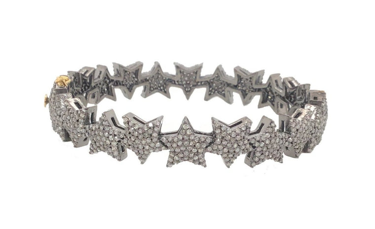 Black Rhodium Full Diamond Star Cuff Bracelet