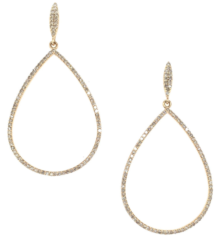 Yellow Gold and Diamond Tear Drop Earrings