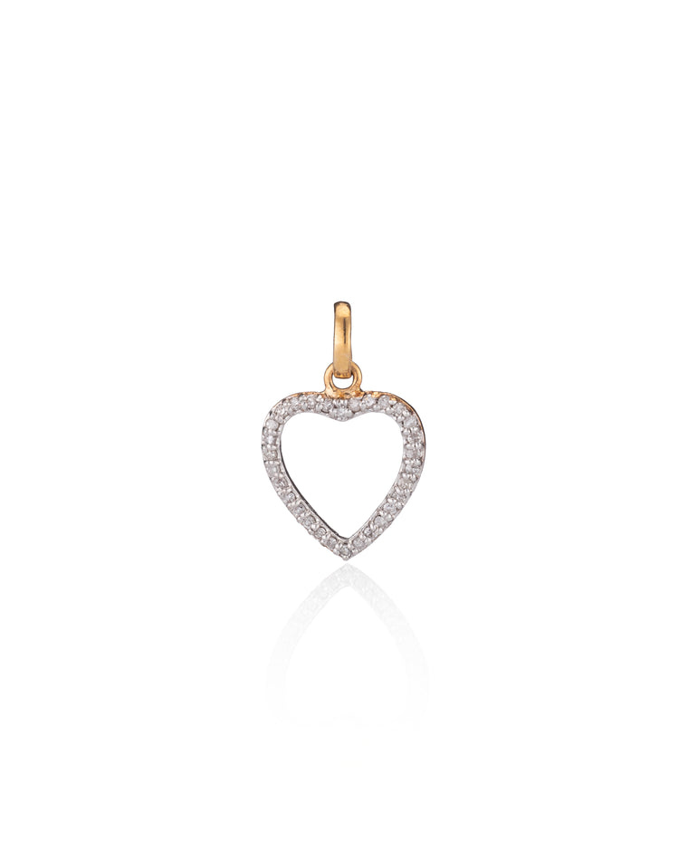 Rose Gold Diamond Open Heart Charm