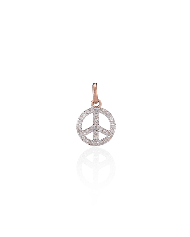 ROSE GOLD DIAMOND PEACE SIGN CHARM