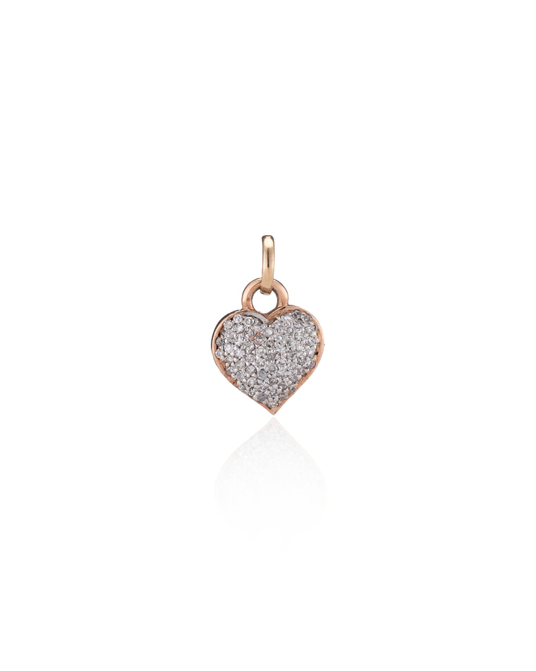 Rose and White Gold Diamond Heart Charm
