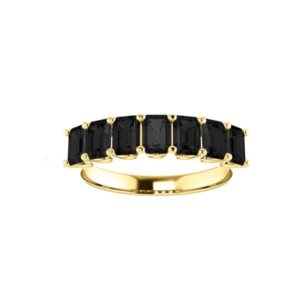 Black Onyx Medium Cut Yellow Gold Ring