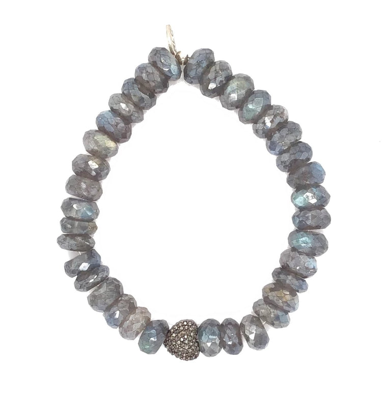 Labradorite and Diamond Heart Bracelet