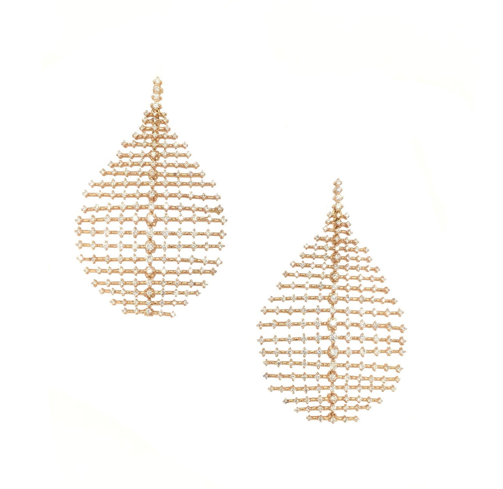 Yellow Gold and Diamond Ripple Earrings