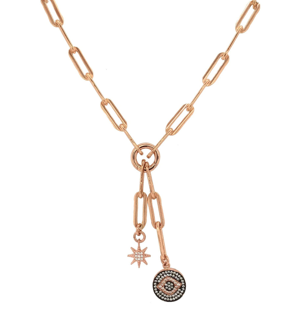 Rose Gold Filled CZ Starburst and Evil Eye Chain Pendant Necklace