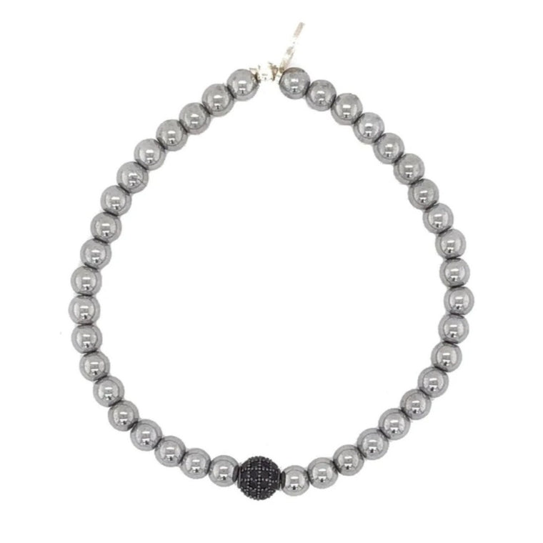 Hematite & Black Ball Beaded Bracelet