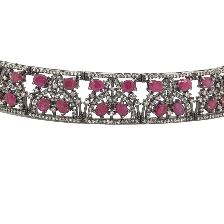BLACK RHODIUM DIAMOND & RUBY CHOCKER NECKLACE