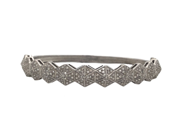 Black Rhodium and Diamond Hex Bracelet