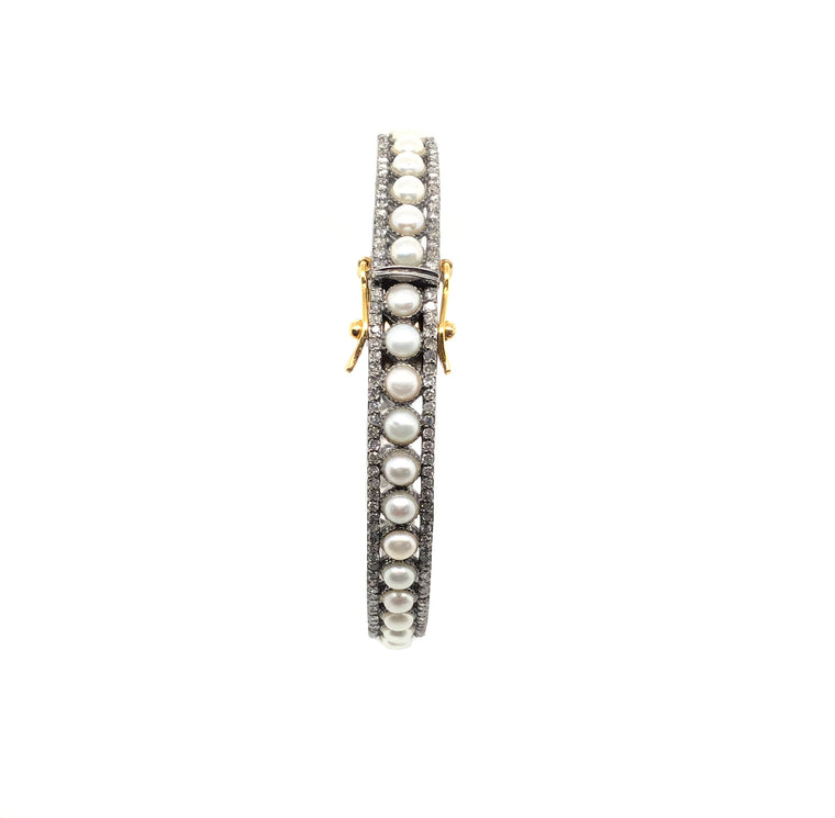 Black Rhodium and Freshwater Pearl Diamond Bracelet