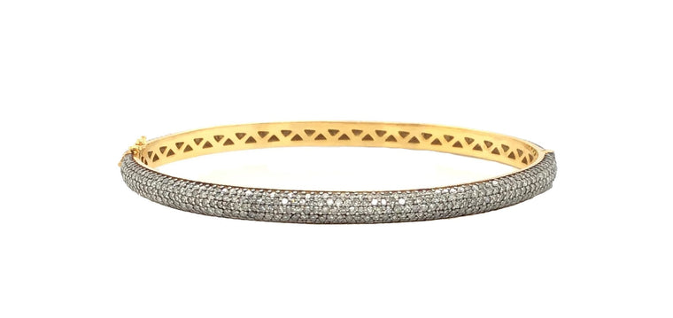 Black Rhodium and Gold Pave Diamond Bracelet