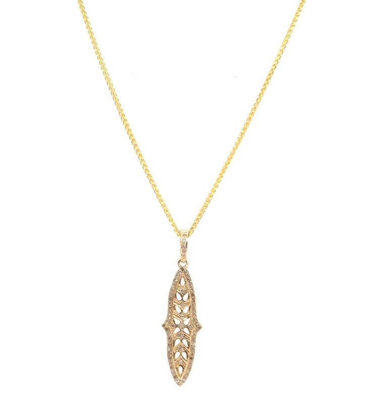 Yellow Gold and Diamond Filagree Pendant Necklace
