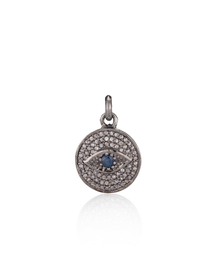 Black Rhodium Diamond & Sapphire Evil Eye Charm