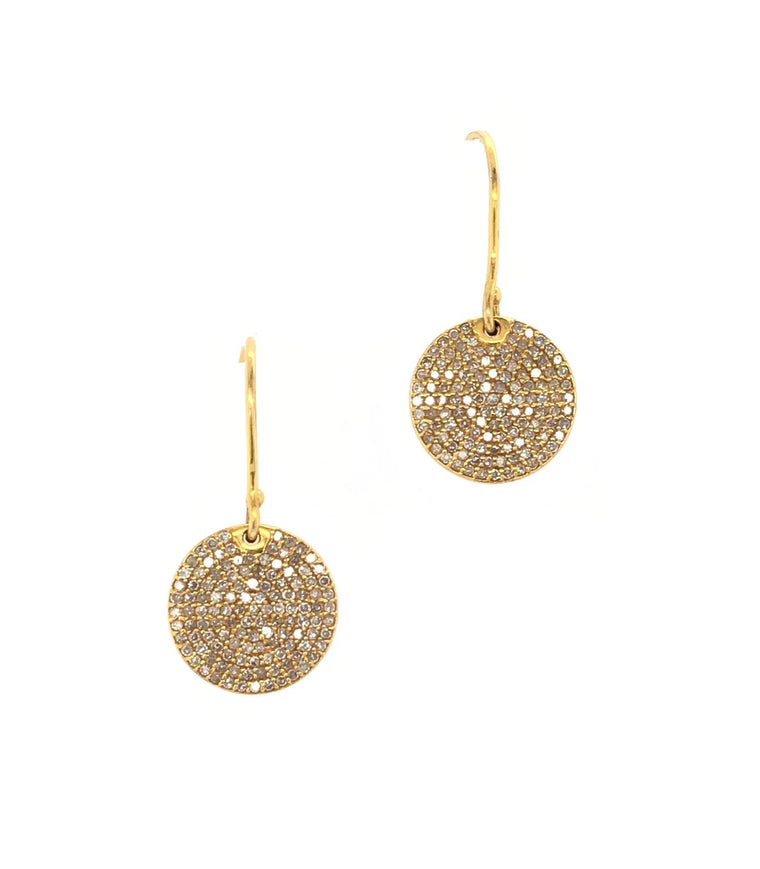 Yellow Gold Pave Diamond Disk Earrings