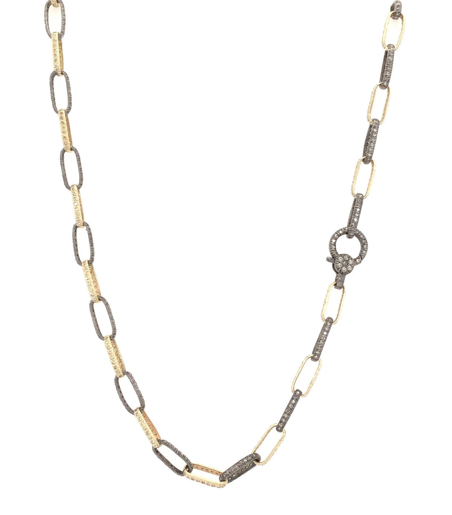 Two Toned Black Rhodium and Yellow Gold Diamond Chain Necklace
