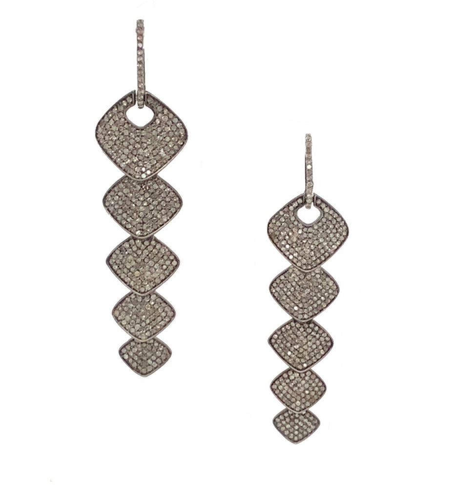 Black Rhodium and Diamond Rhombus Earrings