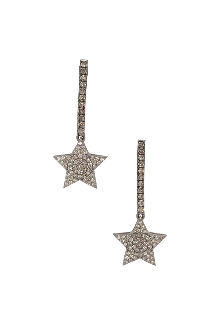 BLACK RHODIUM & DIAMOND FALLEN STAR EARRINGS