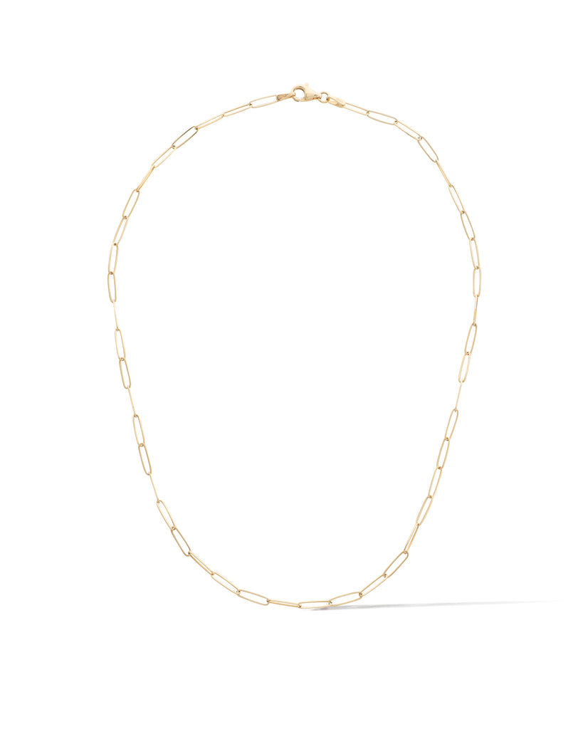14 Karat Yellow Gold Solid Itsy Paperclip Chain