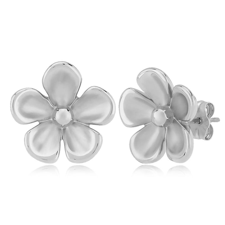 White Gold Polished Daisy Stud