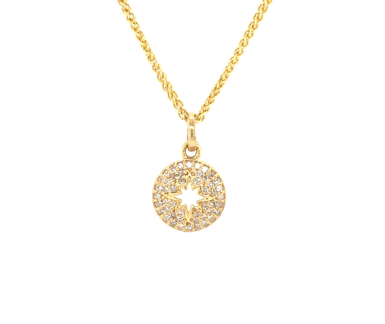 Yellow Gold and Diamond Sunburst Pendant Necklace