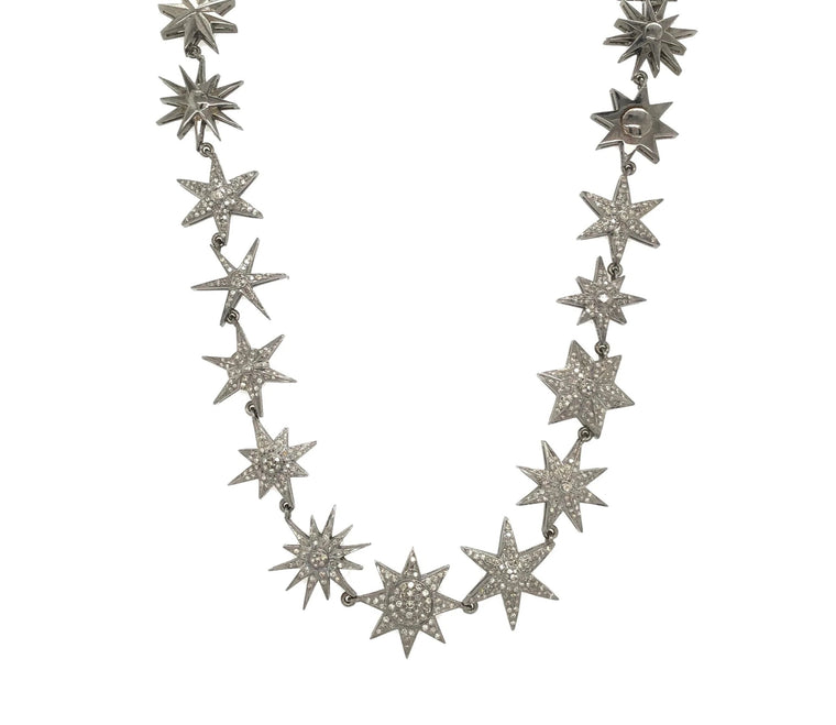 Black Rhodium & Diamond Star Necklace