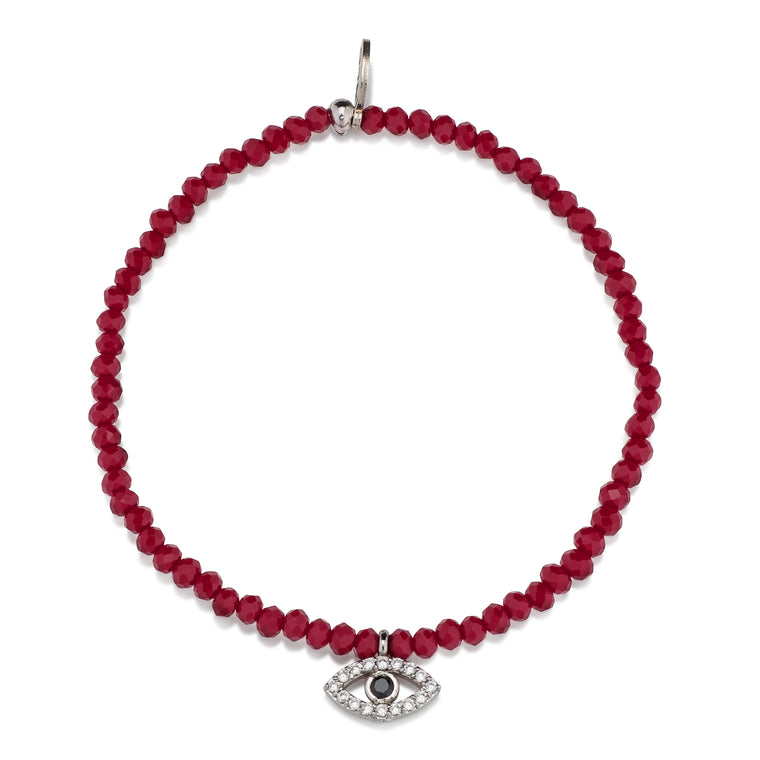 Red Crystal & Silver CZ Evil Eye Beaded Bracelet