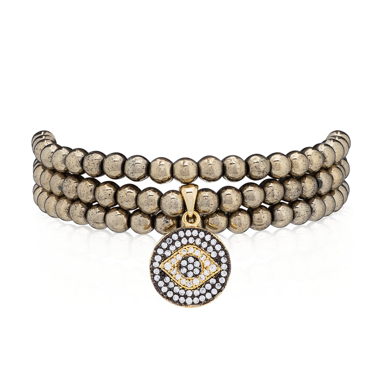 Pyrite & Yellow Evil Eye Triple Wrap Bracelet