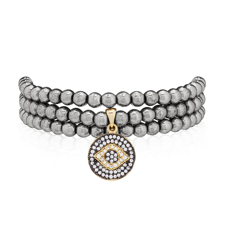 Hematite & Yellow Evil Eye Triple Wrap Bracelet