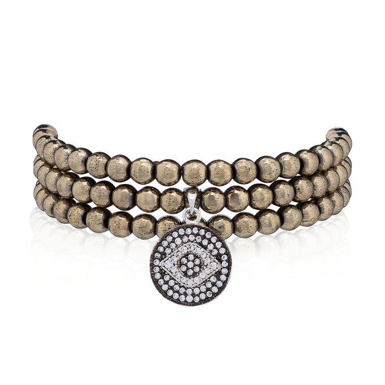 Pyrite & Silver Evil Eye Triple Wrap Bracelet