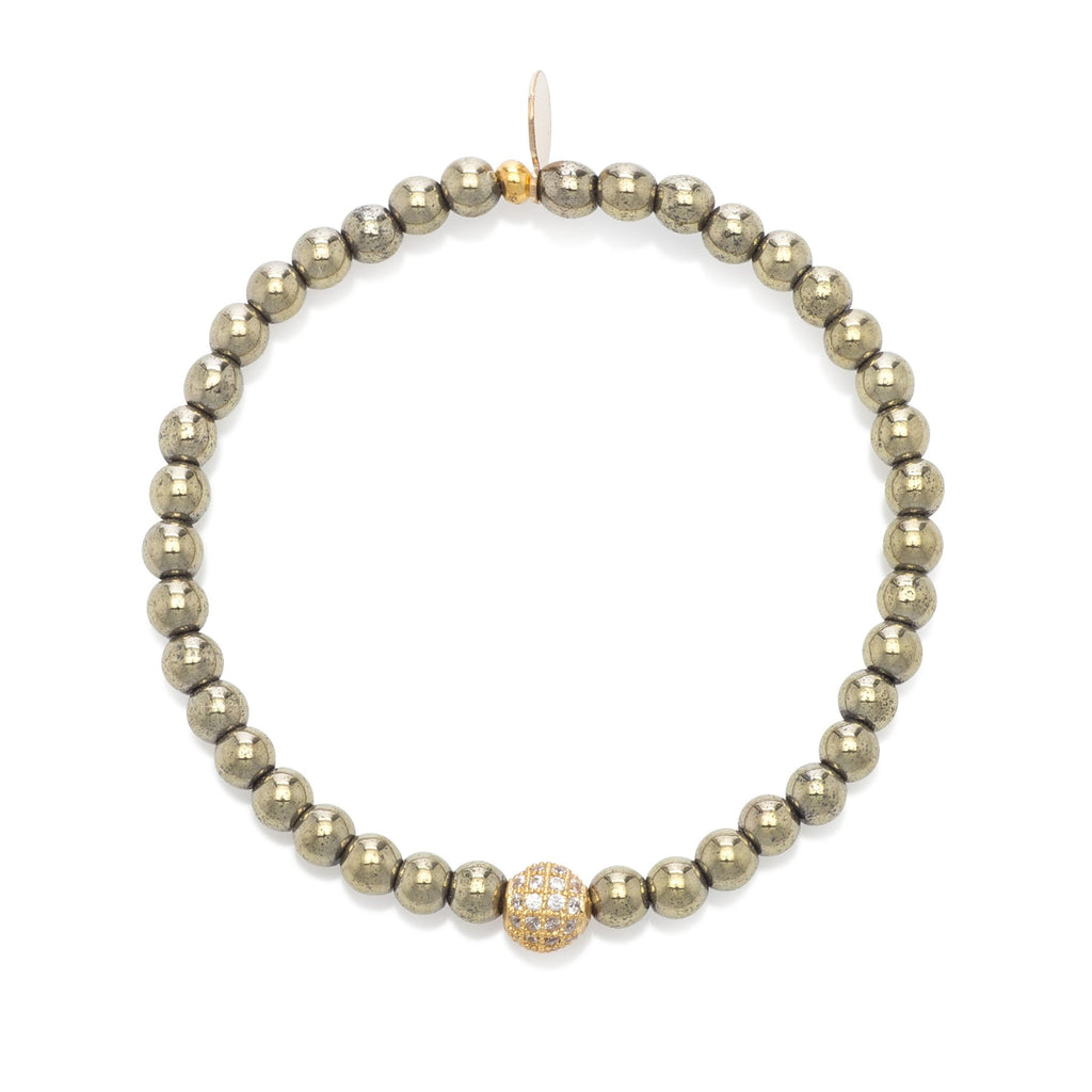 Pyrite & Yellow Ball Beaded Bracelet