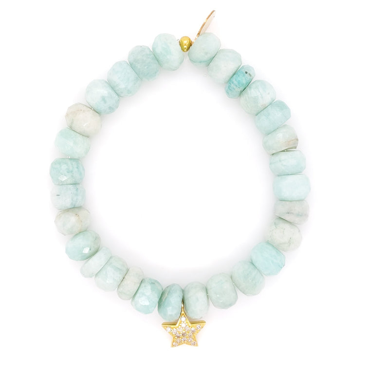 Peruvian Opal and Diamond Star Beaded Bracelet