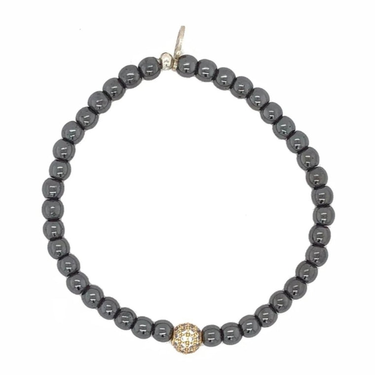 Gunmetal Hematite & Yellow Ball Beaded Bracelet
