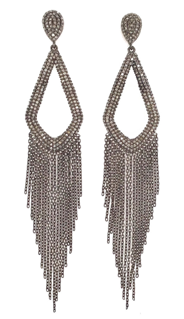 Black Rhodium and Diamond Chain Chandelier Earrings