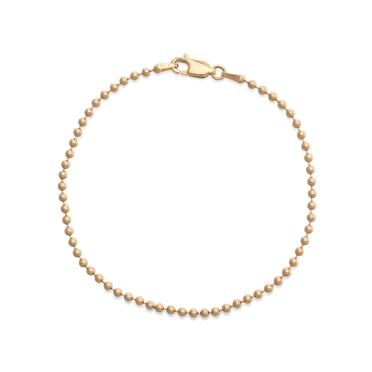 14 KARAT YELLOW GOLD BALL CHAIN BRACELET