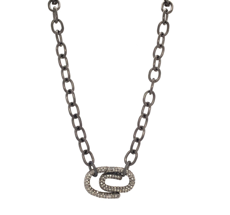 Black Rhodium and Diamond Paper Clip Chain Necklace