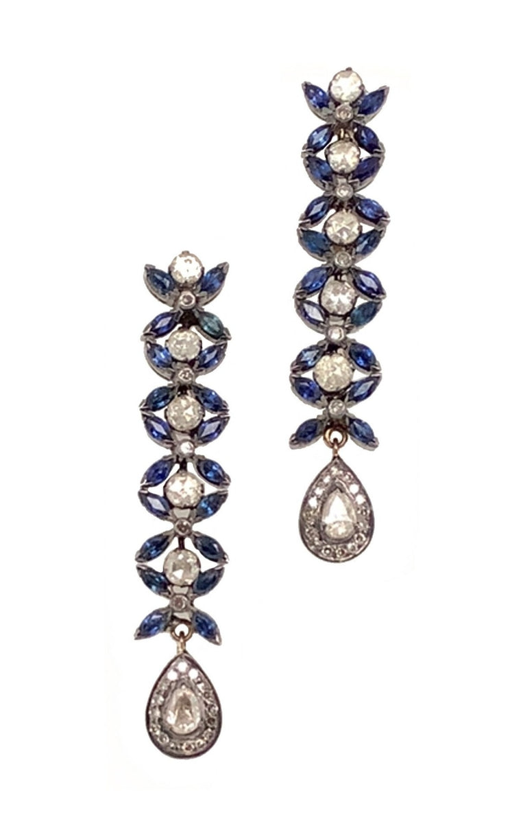Black Rhodium Diamond and Sapphire Drop Royalty Earrings