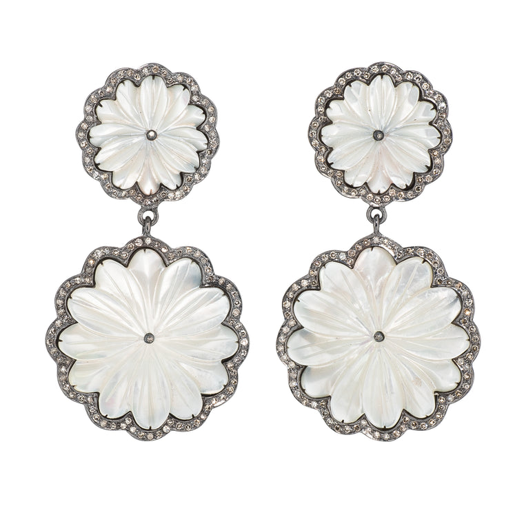 Diamond and Pearl Petal Earring