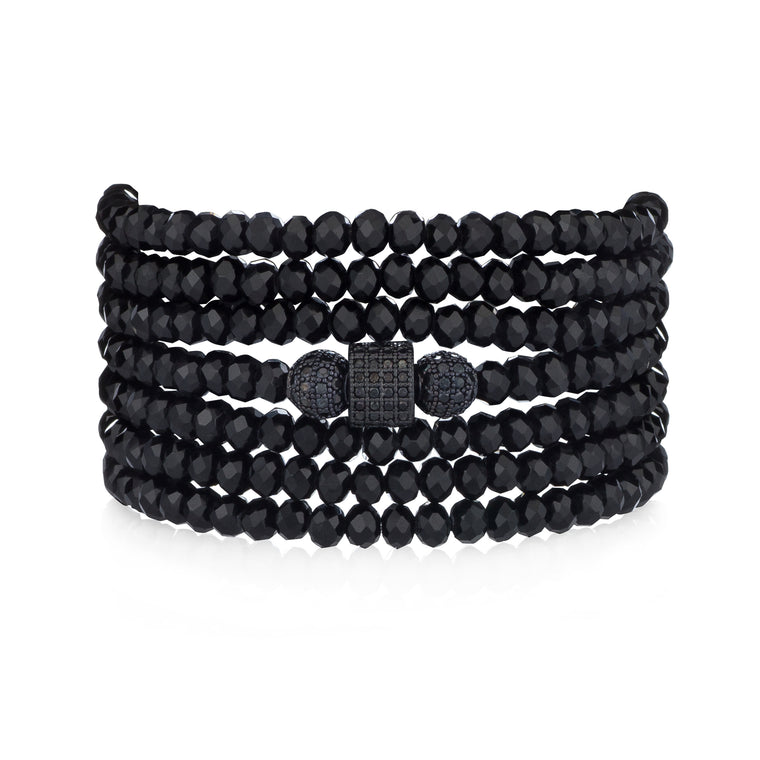 Black Crystal Seven Wrap Black Cubic Zirconia Bracelet & Necklace